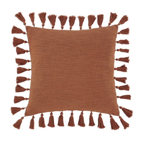 selection ete automne decoration coussin à pompons couleur terracotta