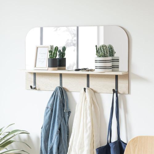 selection ete automne decoration entrée couloir miroir avec crochets pas cher porte manteau