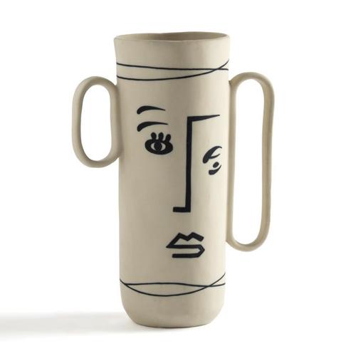 slow decoration accessoire pas cher vase en grès motif visage