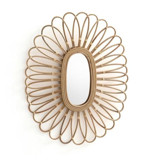 slow decoration accessoire pas cher miroir sorcière soleil fleur rotin