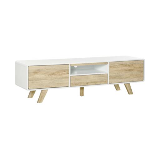 soldes meuble style slow deco meuble télévision bois et blanc moderne tiroir
