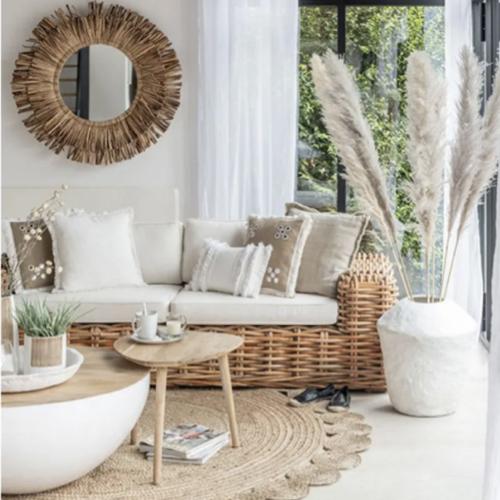 soldes meuble style slow deco table basse ronde design blanc et bois