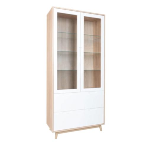 soldes meuble style slow deco vitrine blanche et bois