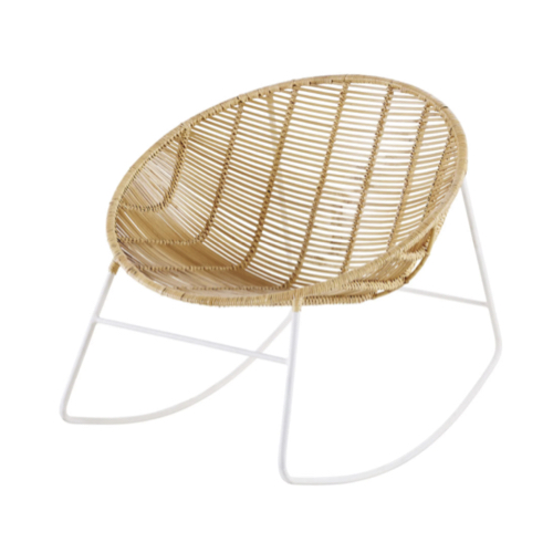 soldes meuble style slow deco fauteuil à bascule moderne en rotin