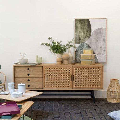 style slow deco mobilier pas cher enfilade bois et cannage