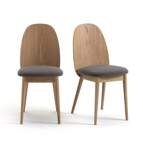 style slow deco mobilier pas cher lot de 2 chaises en bois modernes assises tissus gris