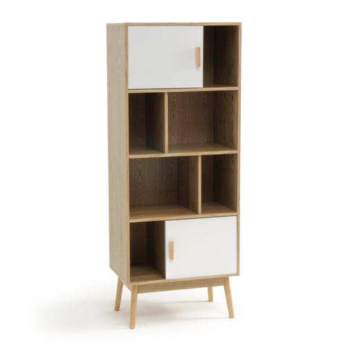 style slow deco mobilier pas cher petite bibliothèque niches en bois et portes blanches
