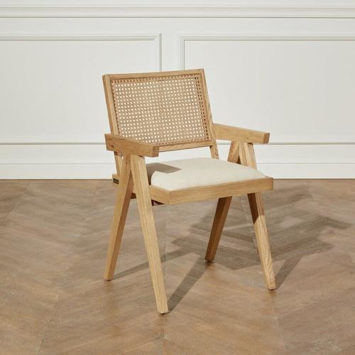 style slow deco mobilier pas cher fauteuil de table avec dossier en cannage