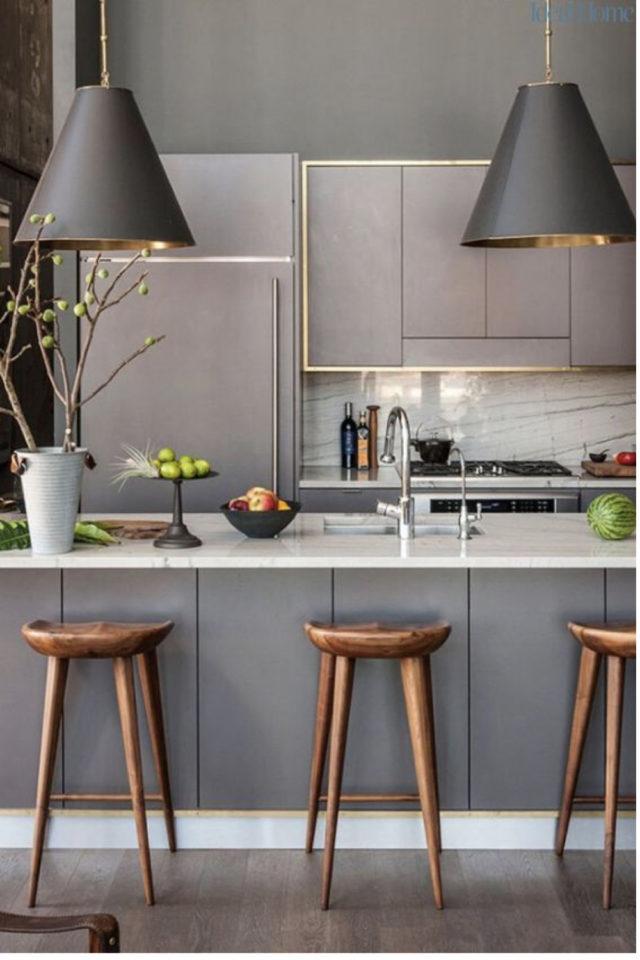 tabouret ilot cuisine moderne gris et bois épuré chaleureux