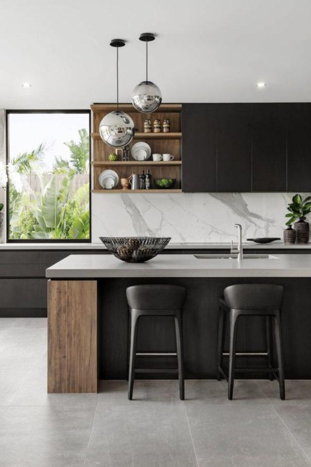 tabouret ilot cuisine moderne bois marbre élégant contemporain et design