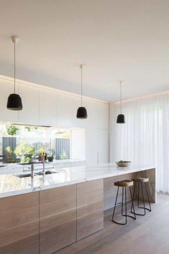 tabouret ilot cuisine moderne grand espace petite assise discrètes bois et métal