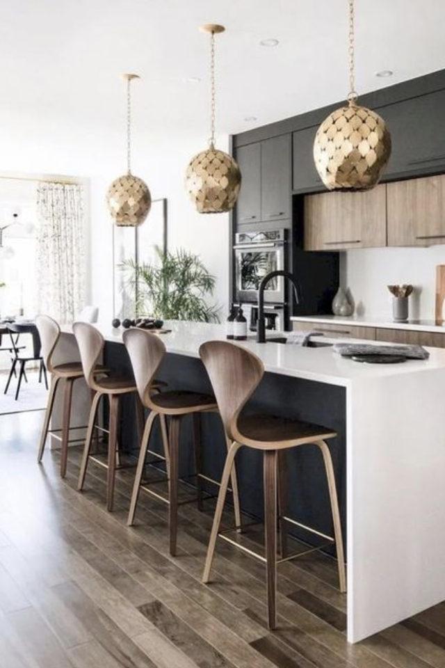 tabouret ilot cuisine moderne design et élégant bois