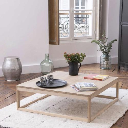 tendance slow living deco pas cher table basse carrée en chêne