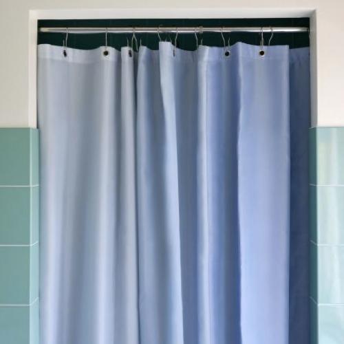 accessoire deco salle de bain moderne rideau de douche couleur bleu dégradé