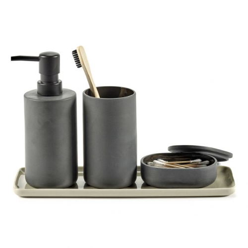 accessoire deco salle de bain moderne distributeur de savon gris noir design