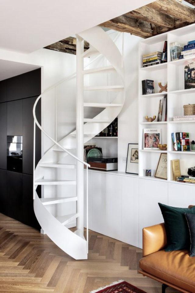 escaliers ouvert salon sejour exemple colimaçon gain de place petit séjour bibliothèque