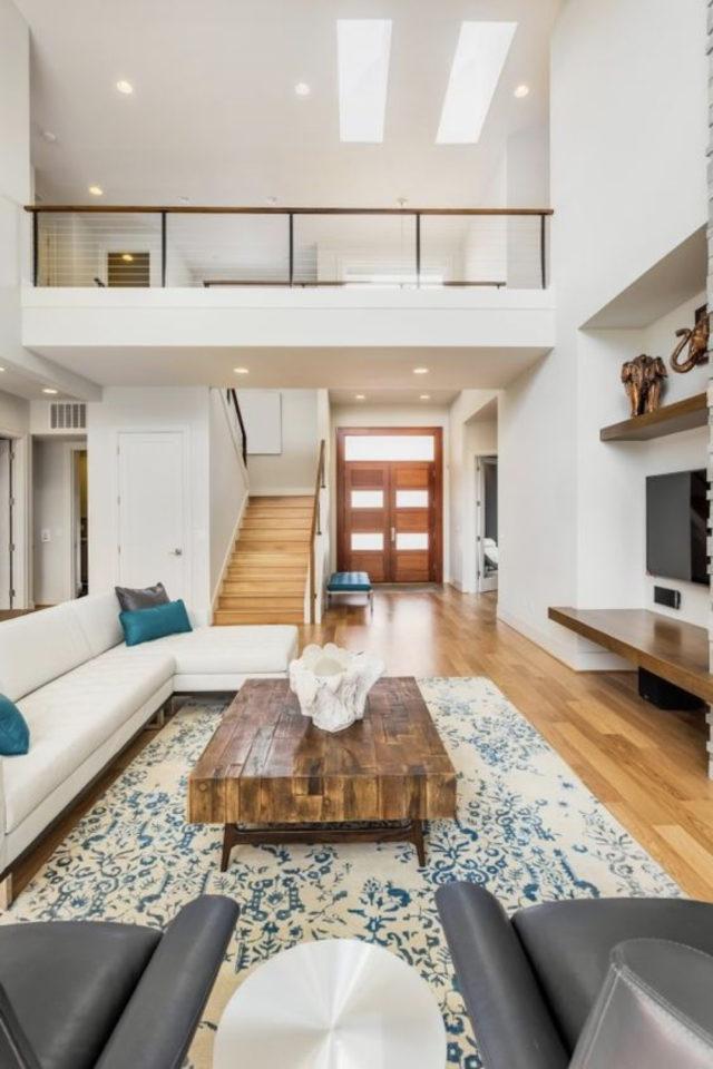escaliers ouvert salon sejour exemple grand espace contemporain lumineux