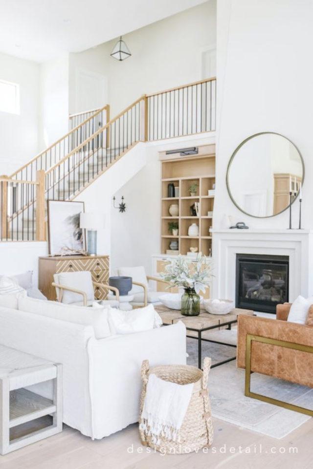 exemple amenagement escaliers ouverts salon décor moderne slow design blanc bois familial