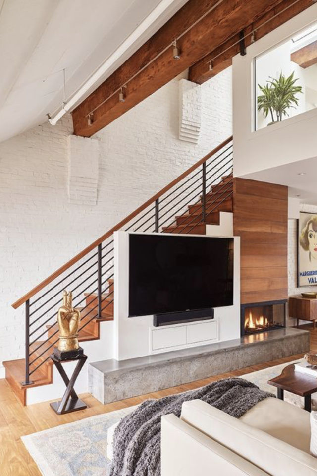 exemple amenagement escaliers ouverts salon meuble sur mesure télévision cheminée
