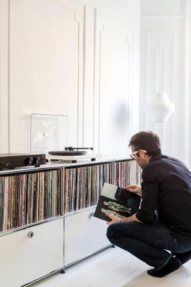 exemple decoration meuble platine vinyle mobilier sur mesure rangement
