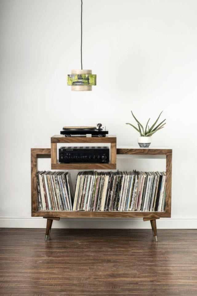exemple decoration meuble platine vinyle bois mobilier petit format