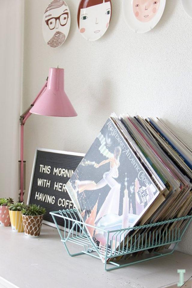 exemple decoration meuble platine vinyle détournement bac étendoir vaisselle petit rangement