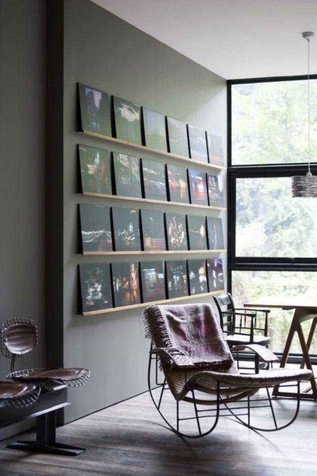exemple decoration meuble platine vinyle étagère murale très fine pochette album