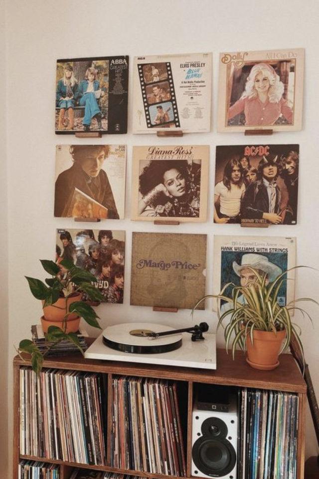 exemple decoration meuble platine vinyle petit mobilier décor mural vintage deco rock plantes vertes