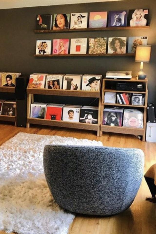 exemple decoration meuble platine vinyle espace musique salon séjour album tourne-disque