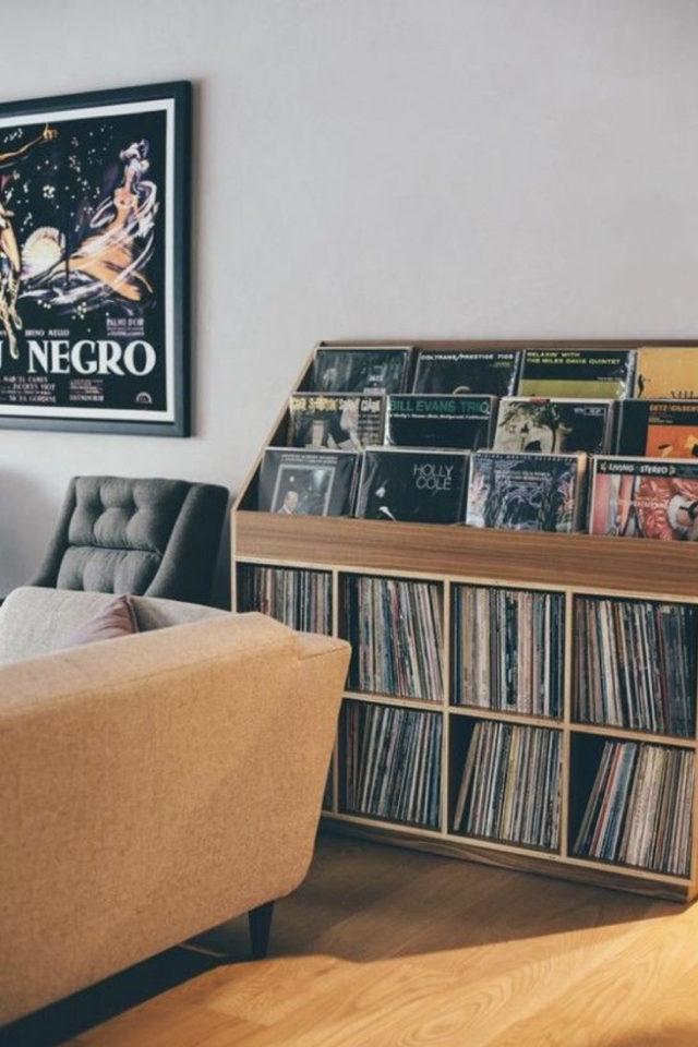 exemple decoration meuble platine vinyle intérieur rock culture arty rangement album disque vinyle