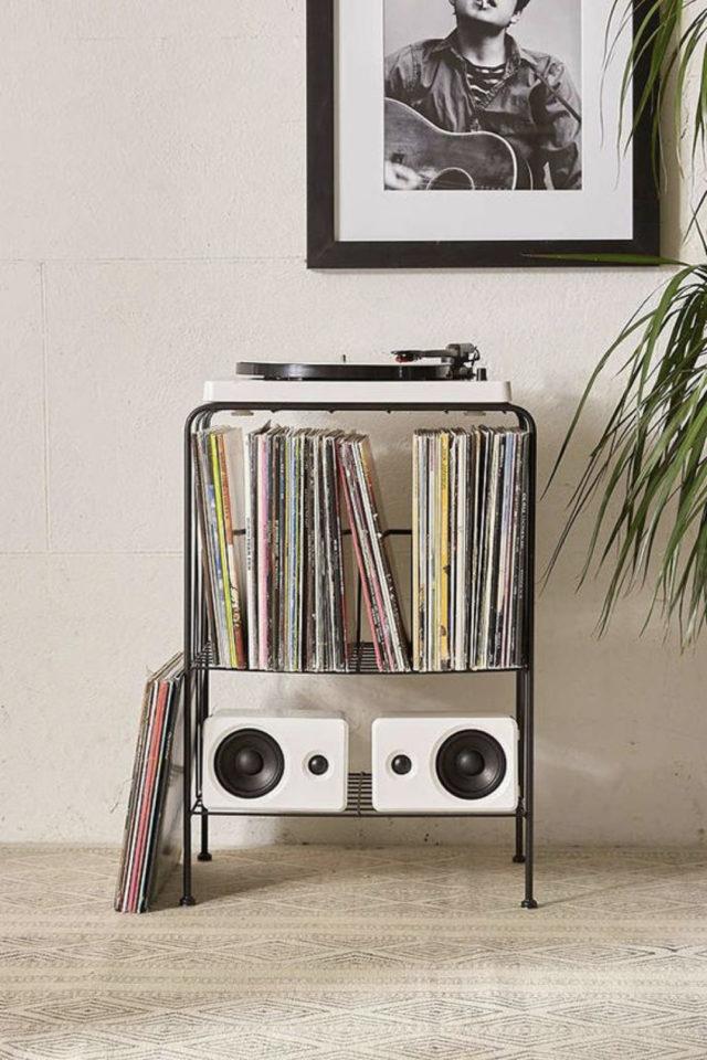 exemple decoration meuble platine vinyle petit mobilier simple platine et rangement