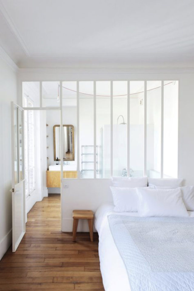 exemple verriere moderne chambre blanc contemporain soubassement espace
