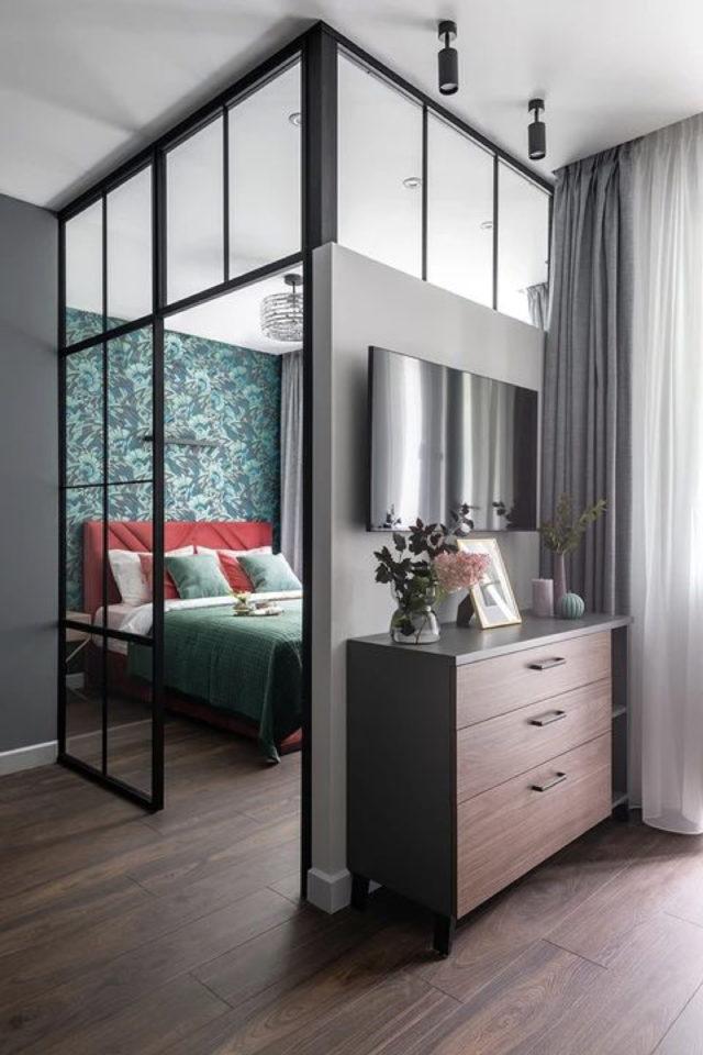 exemple verriere moderne chambre papier peint espace pièce en plus cloison