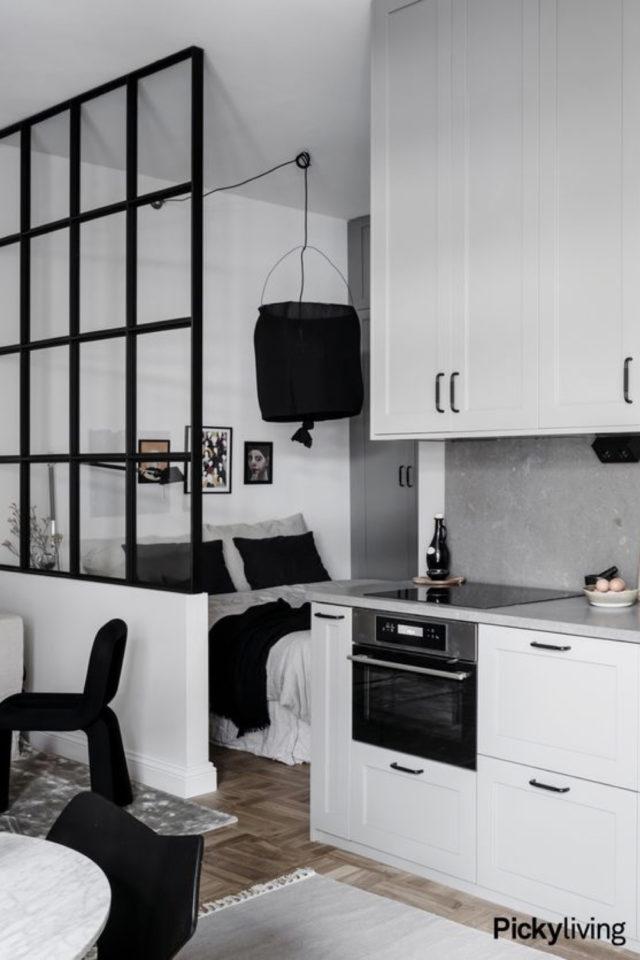 exemple verriere moderne chambre studio multi-fonctions cuisine salon séjour noir et blanc