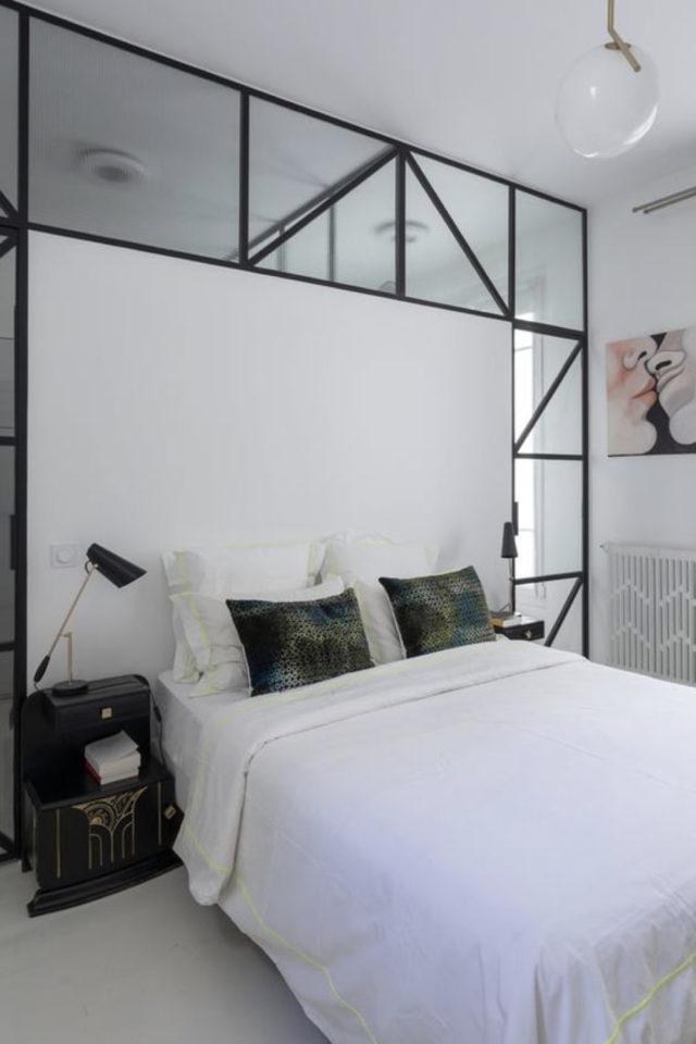 exemple verriere moderne chambre haut du mur design tête de lit