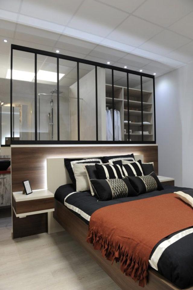 exemple verriere moderne chambre soubassement bois