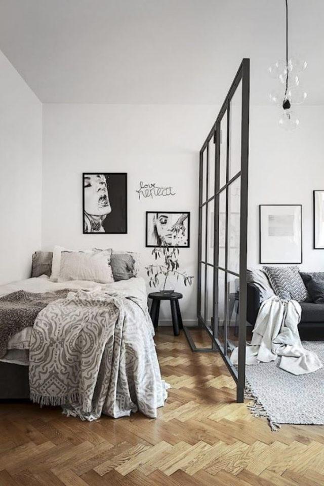 exemple verriere moderne chambre studio aménagement séparation espace salon séjour