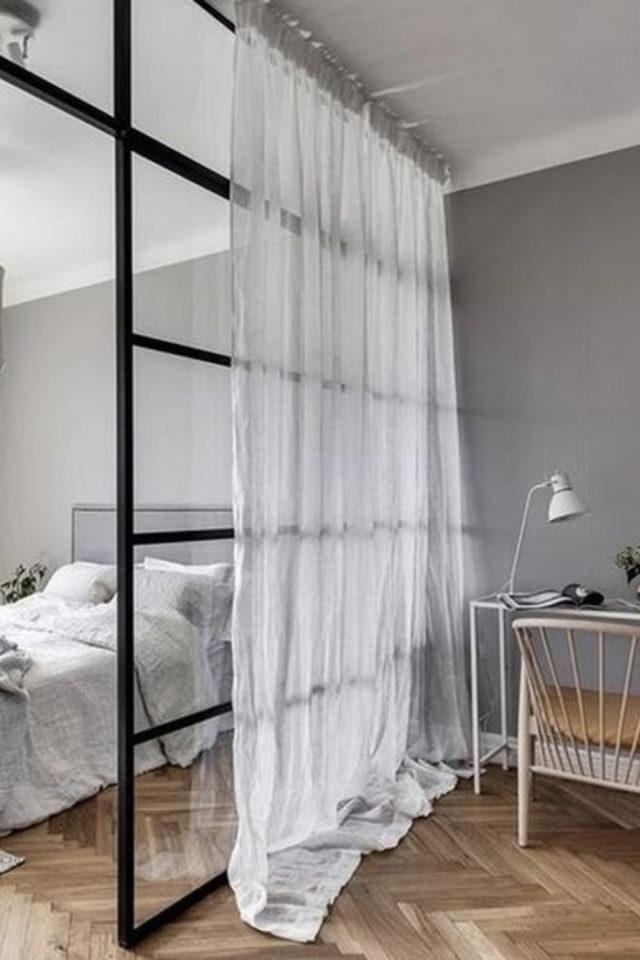 exemple verriere moderne chambre voilage intimité séparation bureau