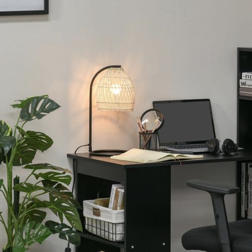 ou trouver lampe de bureau deco Lampe de table arquée style néo-rétro rotin naturel métal noir