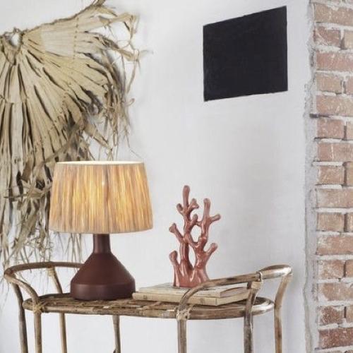 ou trouver lampe de bureau deco Lampe de table métal abat-jour raphia naturel