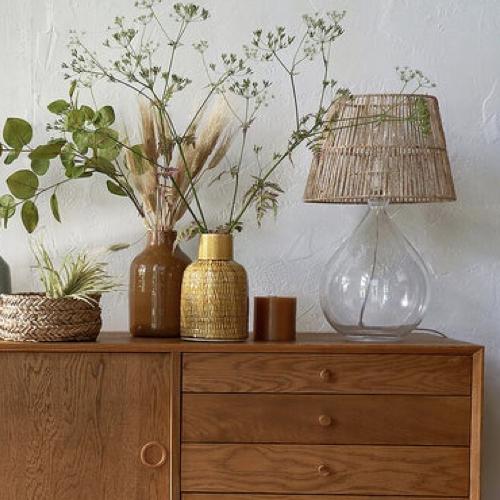 ou trouver lampe de bureau deco Lampe à poser verre et chanvre