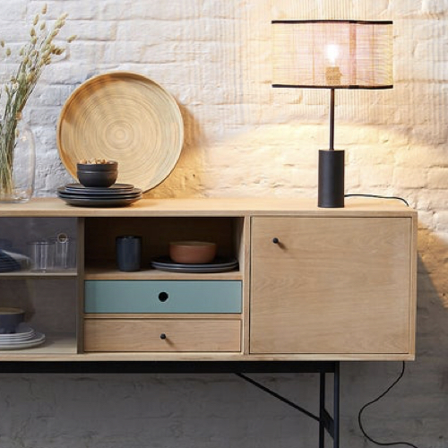 ou trouver lampe de bureau deco Lampe à poser métal et cannage