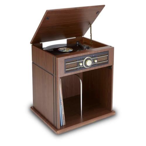 ou trouver platine retro vintage avec meuble de rangement bois