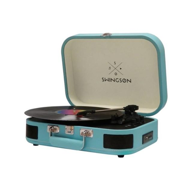 ou trouver platine vinyle vintage rétro valise bleu