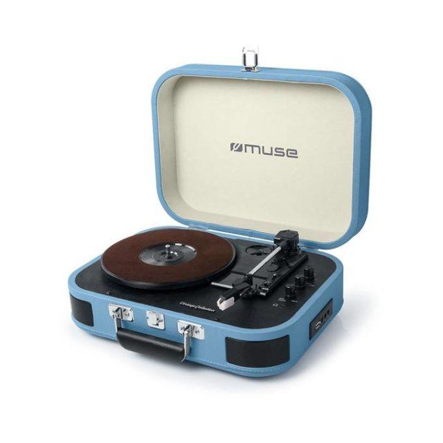 ou trouver platine vinyle petite valise bleue rétro vintage