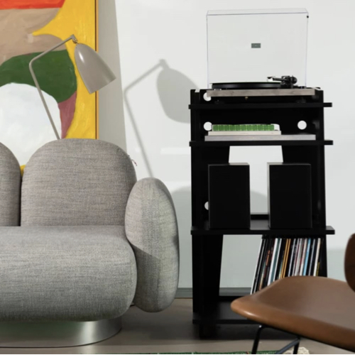 ou trouver rangement vinyles petit meuble noir moderne simple