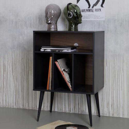 ou trouver rangement vinyles petit appartement mobilier noir gain de place
