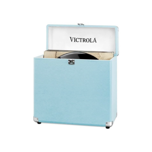ou trouver rangement vinyles caisse stockage bleu rétro