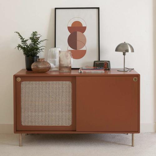 ou trouver rangement vinyles petit buffet vintage porte cannage mid century modern