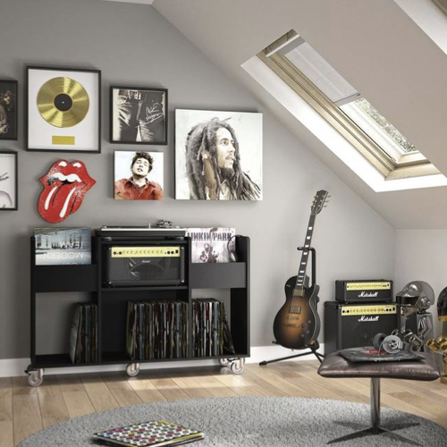 ou trouver rangement vinyles meuble ouvert noir passion musique